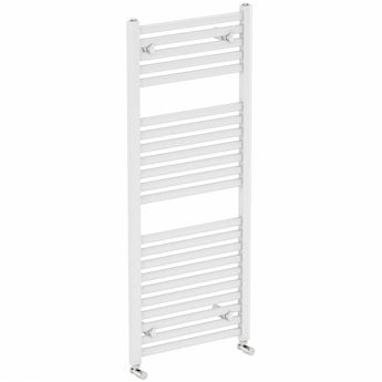 White heated towel rail 1200 x 600 offer pack