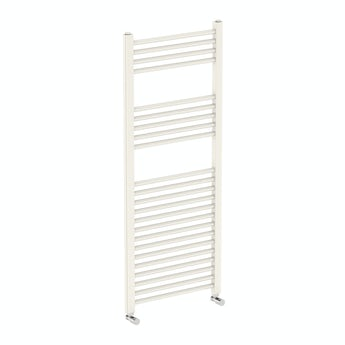 Round white heated towel rail 1200 x 490 offer pack