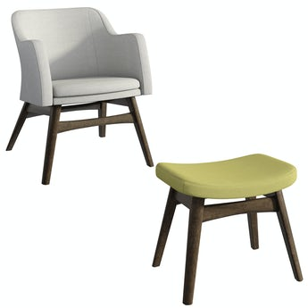 Sloane walnut and grey/green armchair and footstool set
