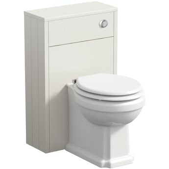 The Bath Co. Winchester ivory slimline back to wall unit and toilet with white wooden seat