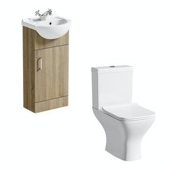 Sienna oak cloakroom unit with Compact Square close coupled toilet