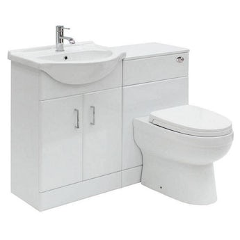 Sienna white 1140 combination unit with Energy back to wall toilet