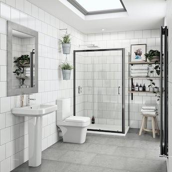 Mode Ive bathroom suite with 6mm black enclosure 1200 x 800