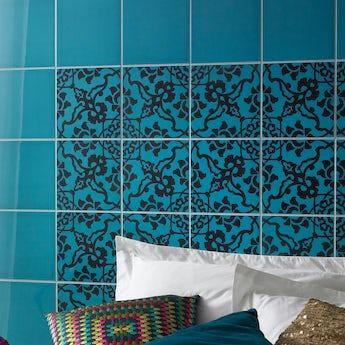V&A turquoise gloss tile 198mm x 198mm