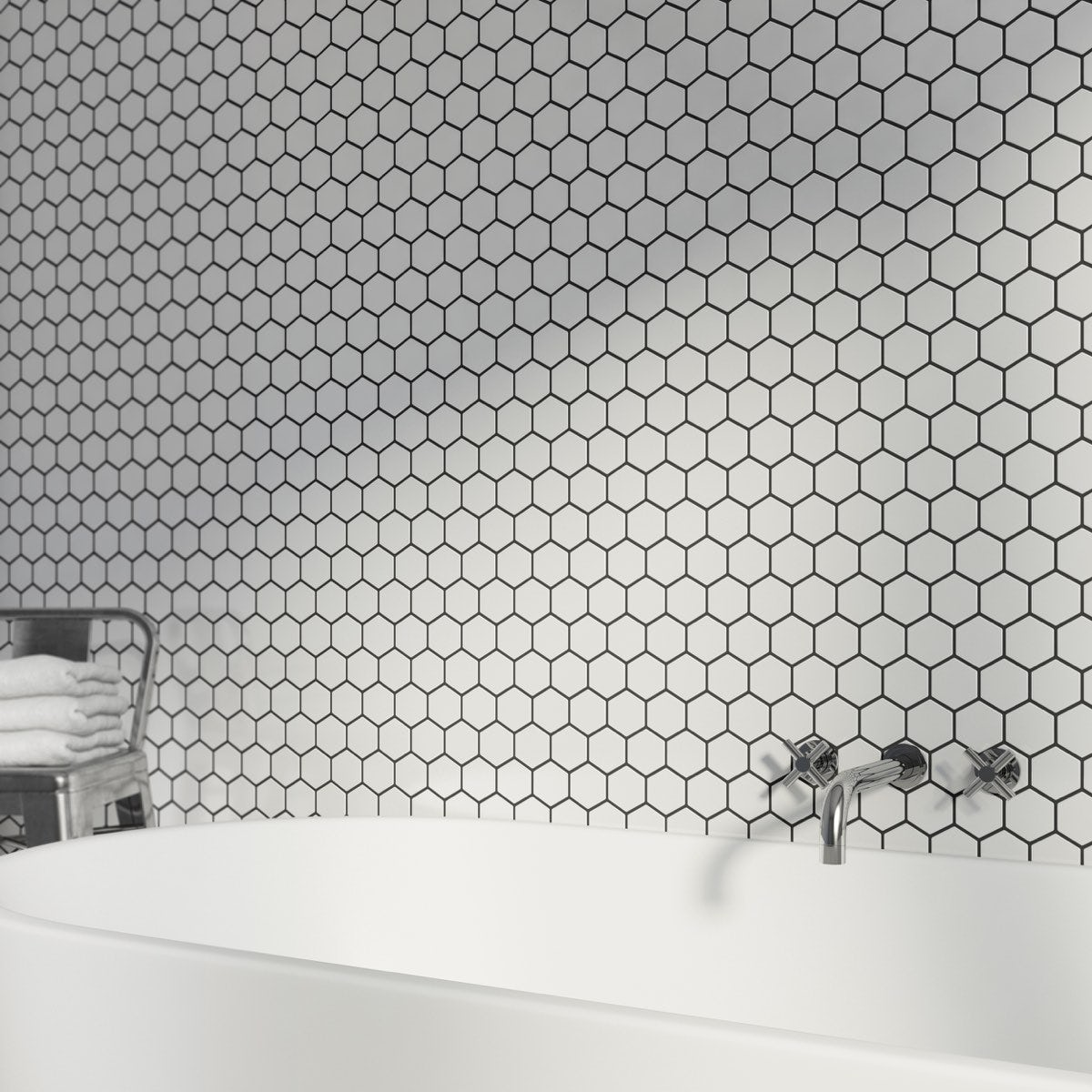 Mosaic Hex White Tile 300mm X 300mm 1 Sheet