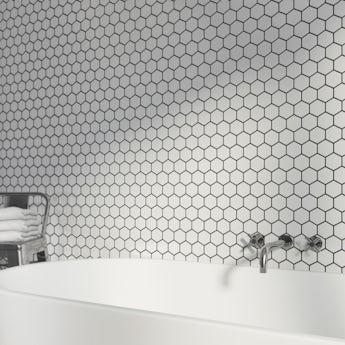 Mosaic hex white tile 300mm x 300mm - 1 sheet