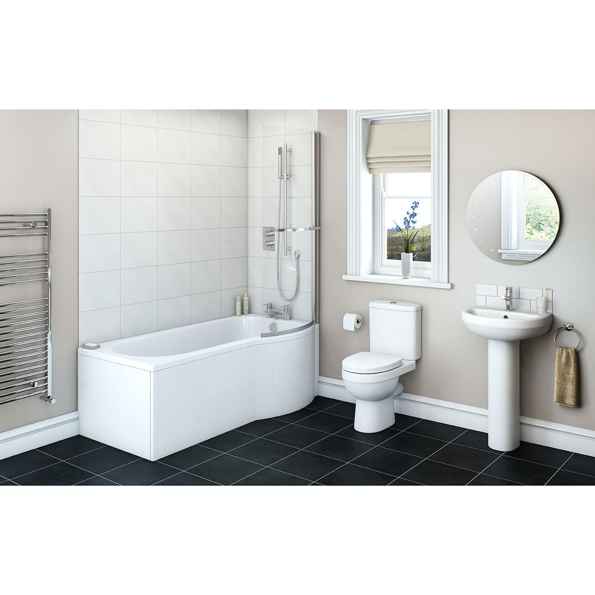 Energy bathroom suite with rh shower bath 1700x850 for Contemporary bathroom suites