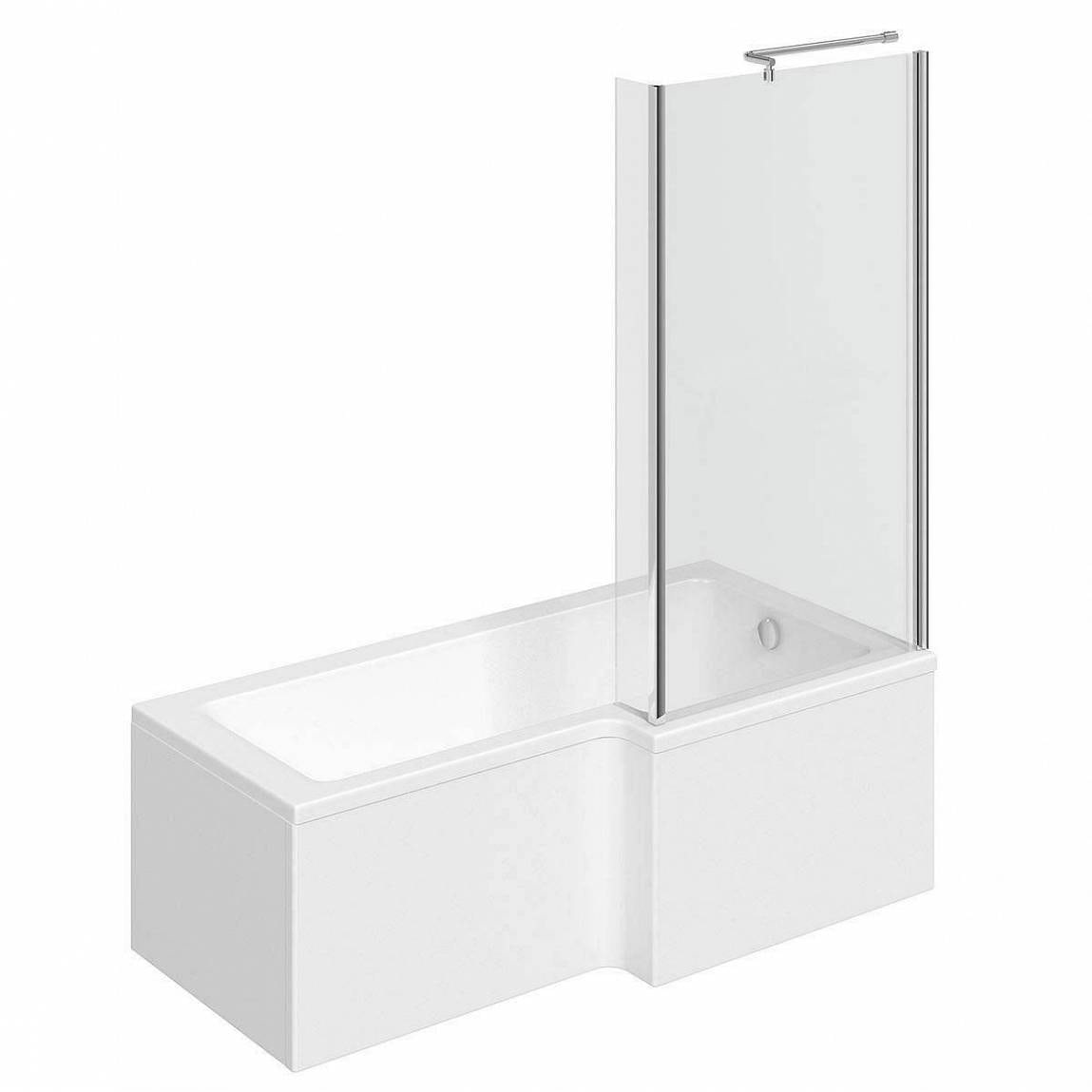 boston right handed l shaped shower bath 1700mm with 5mm leda l shape left hand reinforced shower bath 1700 x 850