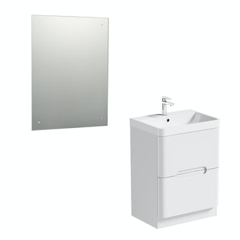 Mode Planet white vanity drawer unit 600mm and mirror offer