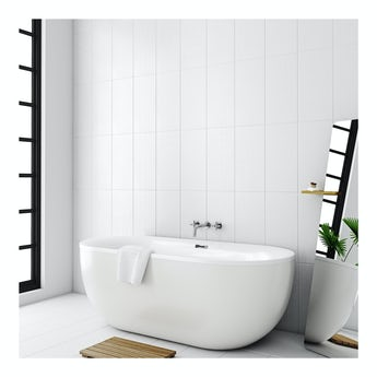 Laura Ashley Cottonwood linear white wall tile 248mm x 498mm