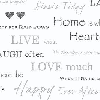 Fine Decor wall words sidewall black / silver