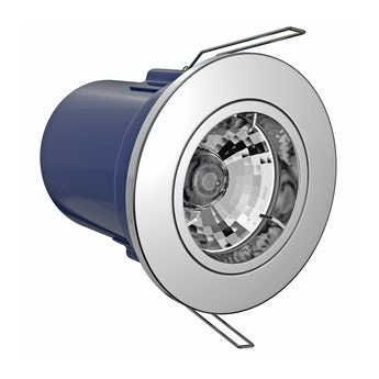 Fixed fire rated bathroom downlight in chrome