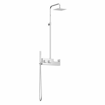 Chime stainless steel shower riser rail kit with shelf