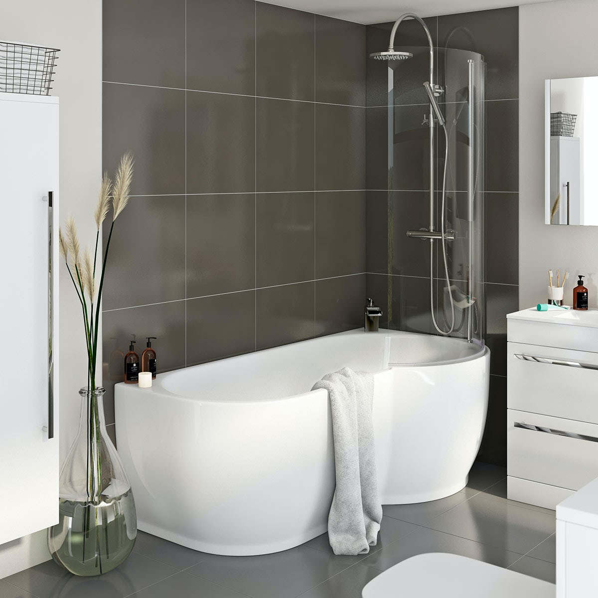 Freestanding Shower Bath amp 6mm Screen RH Click to zoom. Freestanding Shower Bath