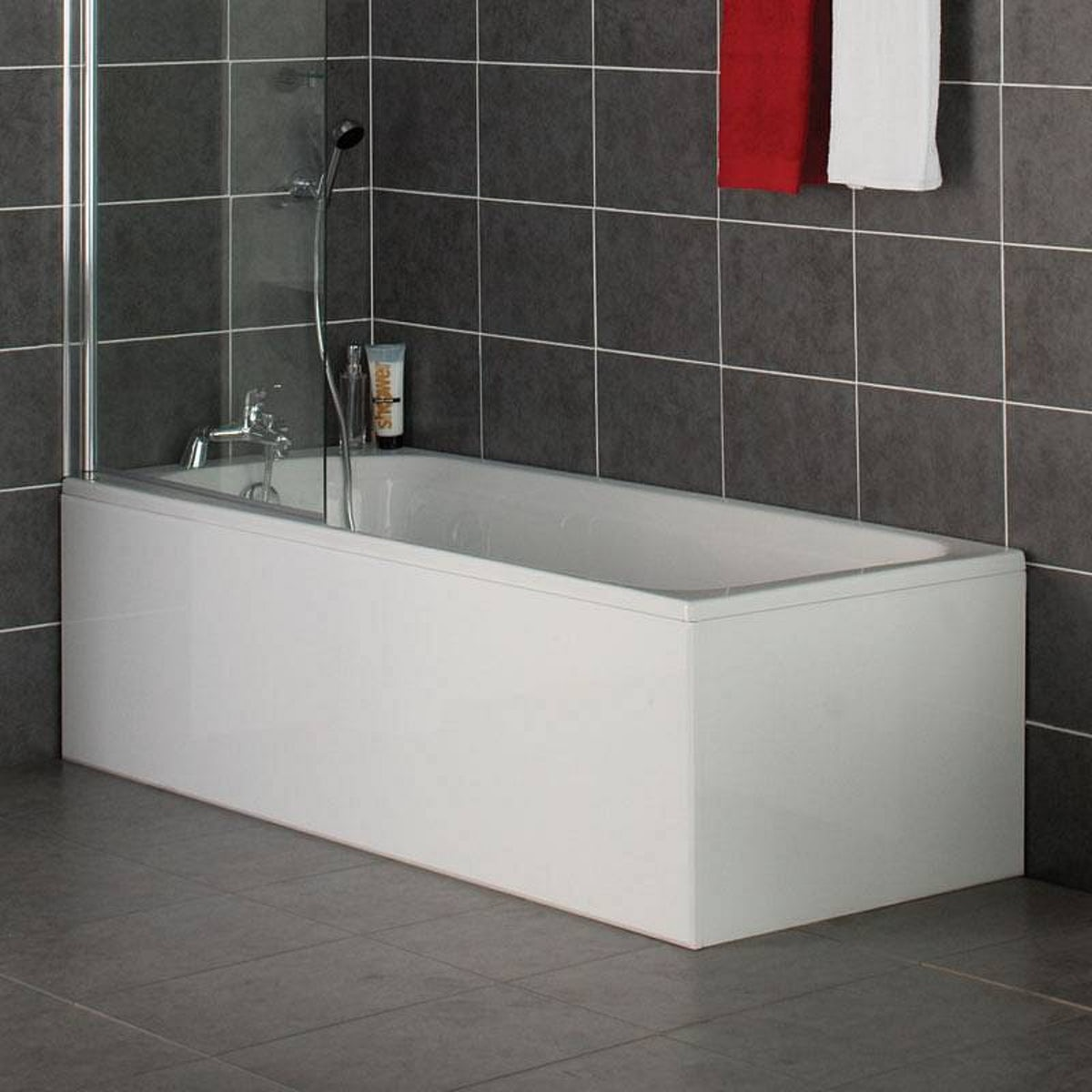 white wooden straight bath front panel 1700mm