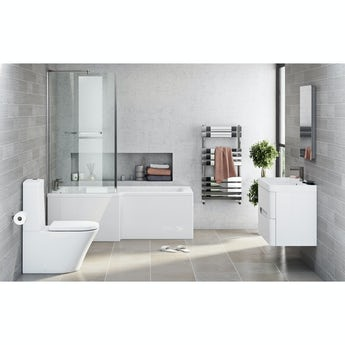 Mode Arte left hand shower bath 1700 x 850 suite with Planet white 800 wall hung unit