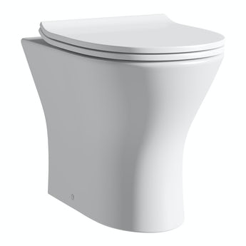 Compact Round back to wall toilet with soft close slim toilet seat
