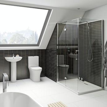 Mode Hardy rimless bathroom suite with 8mm enclosure 1200 x 800