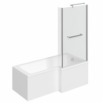 L shaped right handed shower bath 1500mm with 6mm shower screen and rail