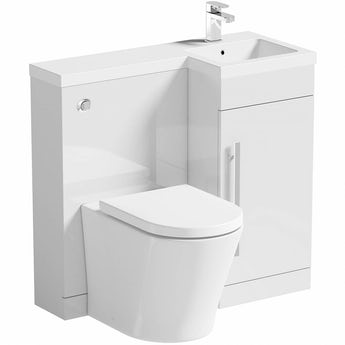 MySpace white right handed unit with Arte back to wall toilet