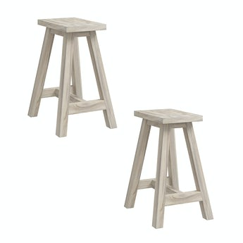 Reeves Pair of Eli greywash square stools