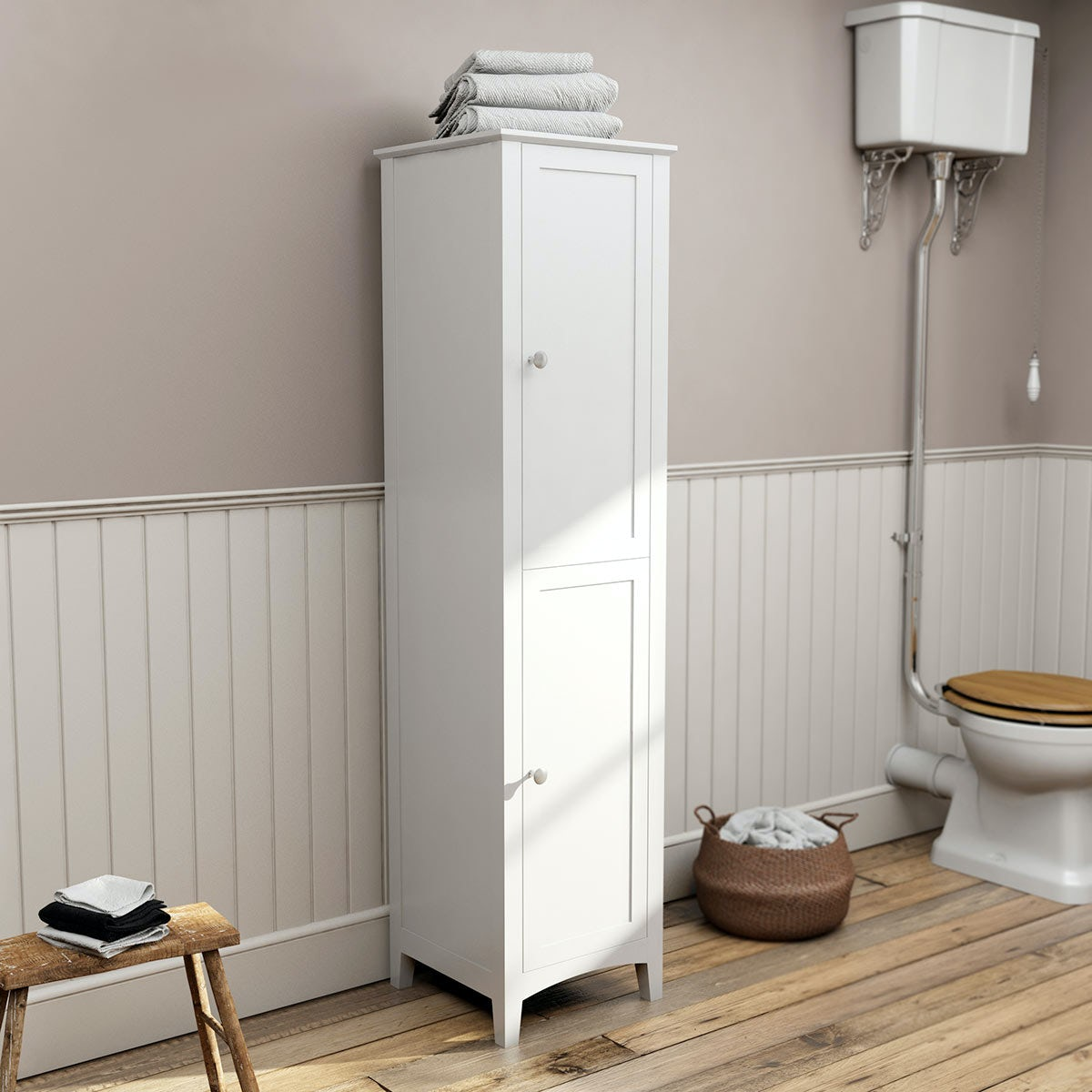 The Bath Co Camberley White Tall Storage Unit