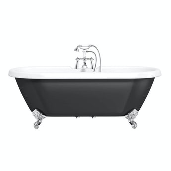 the bath co shakespeare traditional roll top bath with ball feet black