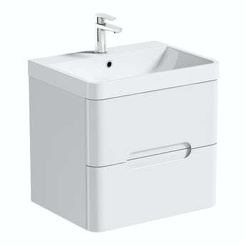 Mode Planet white wall hung vanity drawer unit and basin 600mm
