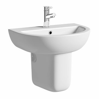 Elena 1 tap hole semi pedestal basin 550mm with waste