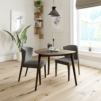 Ernest walnut apartment table with 2 x Hudson grey dining chairs