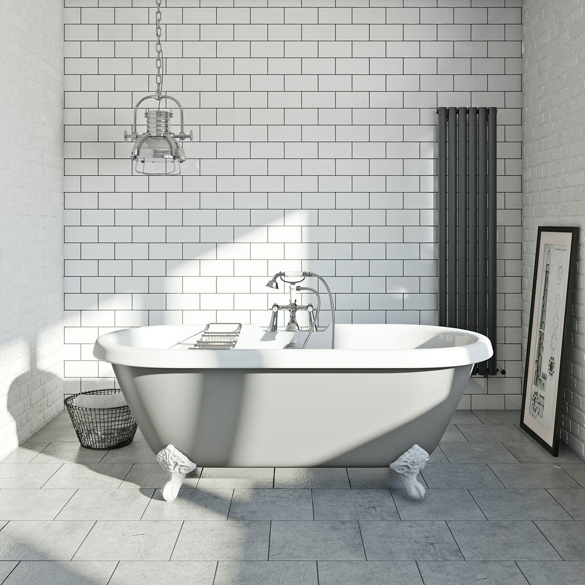 Camberley Grey Bathroom Suite With Freestanding Bath