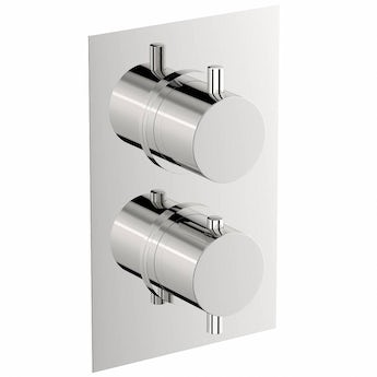 Matrix square twin thermostatic shower valve with diverter offer pack