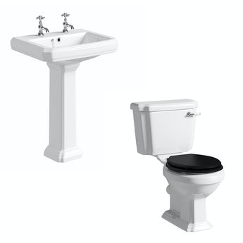 Cavendish toilet suite with black seat and full pedestal basin 600mm