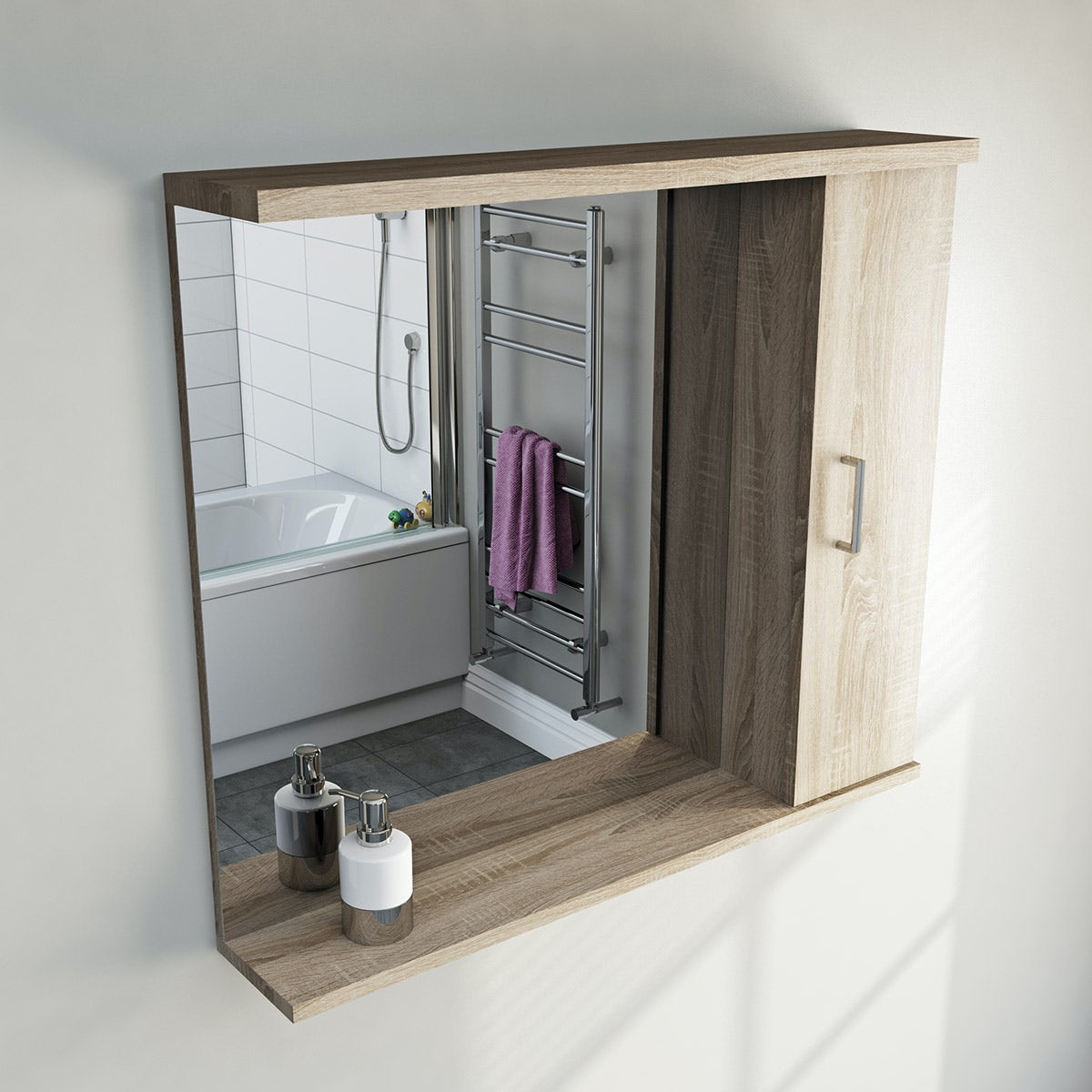 oak bathroom mirror with lights 850mm 13832