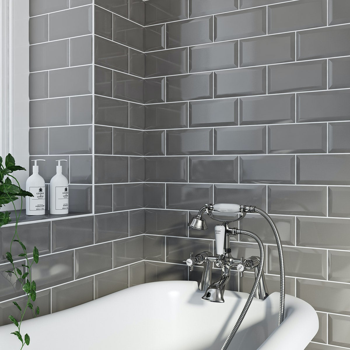 Metro Grey Bevel Gloss Tile 100mm X 200mm