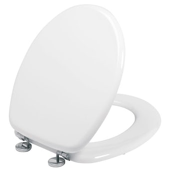 Wooden toilet seat with stainless steel hinge