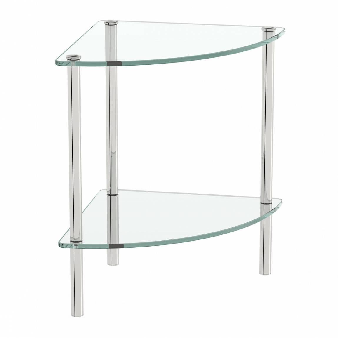 Options freestanding quadrant 2 glass shelf unit - Glass free standing shelves ...