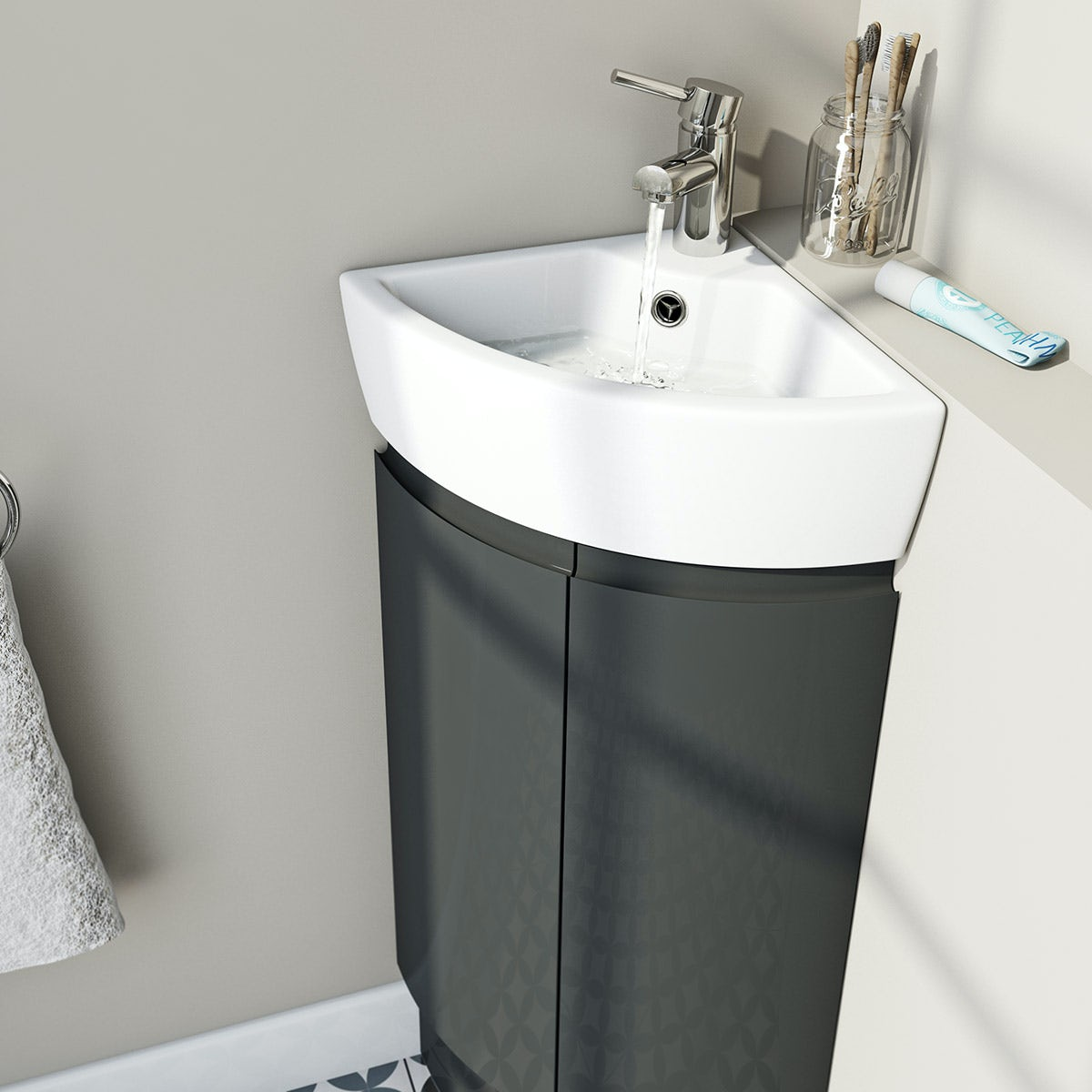 Mode Curvaceous Slate Compact Corner Vanity Unit And