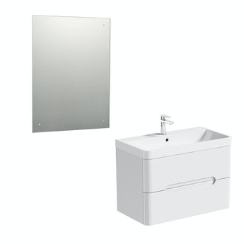 Mode Planet white wall hung vanity unit 800mm and mirror offer