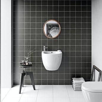 Patchwork plain dark grey matt tile 142mm x 142mm