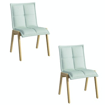 Hadley oak and light green pair of dining chairs