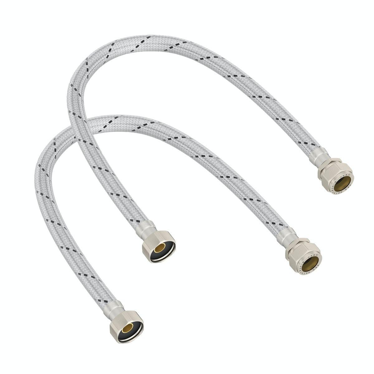 2 pack flexible tap connectors 12 x 15mm x 500mm. Black Bedroom Furniture Sets. Home Design Ideas