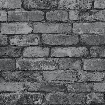Fine Decor rustic brick sidewall silver