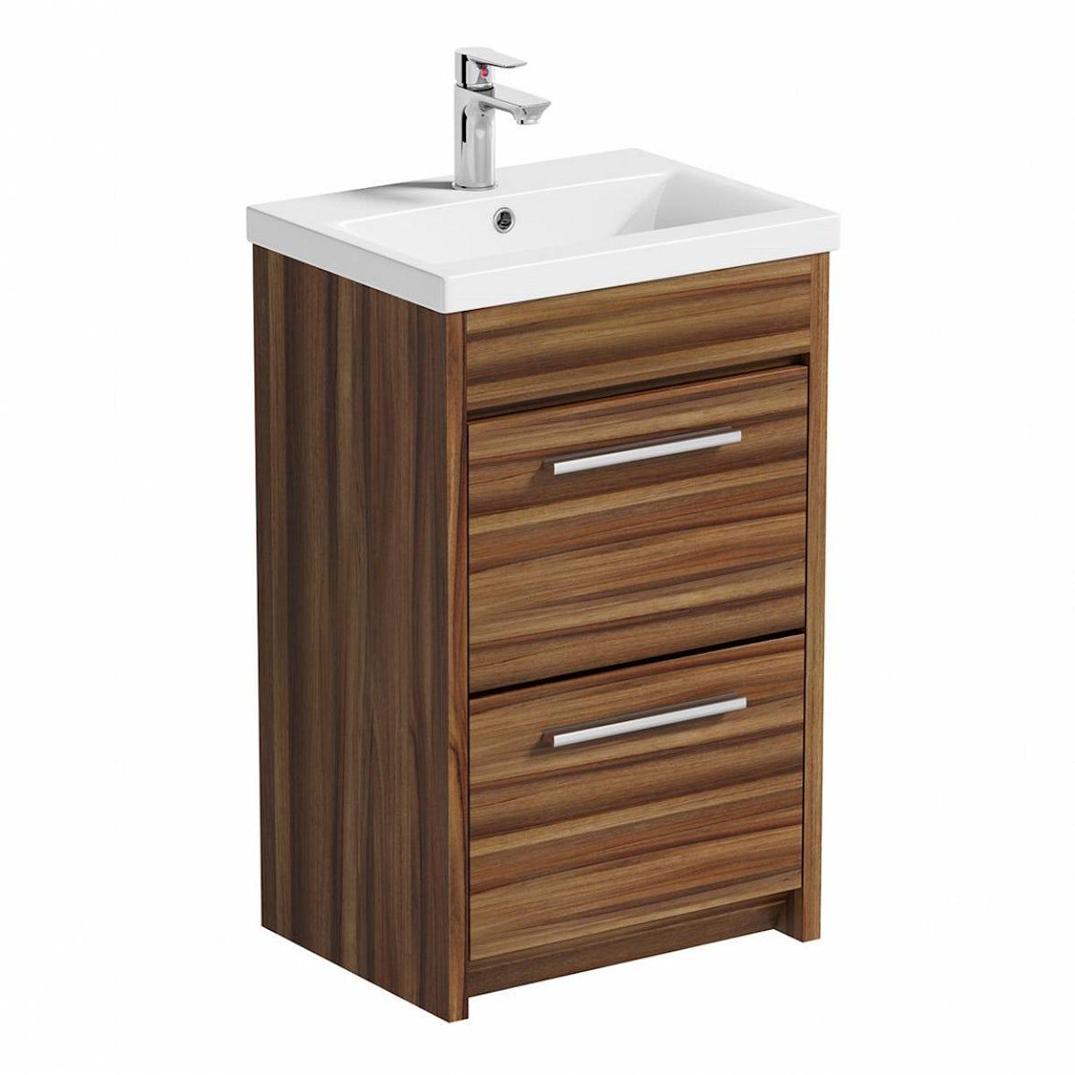 1200 vanity unit - Smart Walnut Vanity Drawer Unit With Basin 500mm