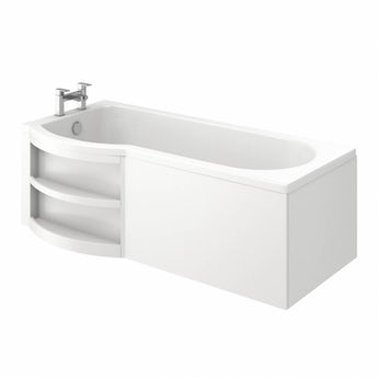 MySpace water saving P shaped shower bath left hand with storage panel