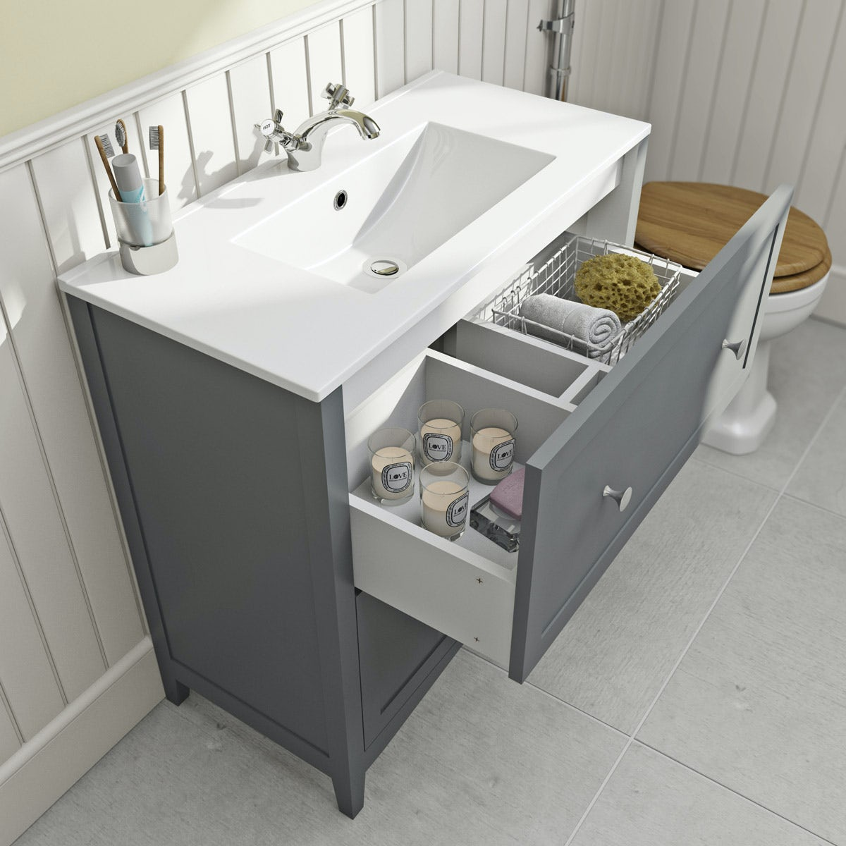 The Bath Co. Camberley grey vanity unit with basin 800mm ...