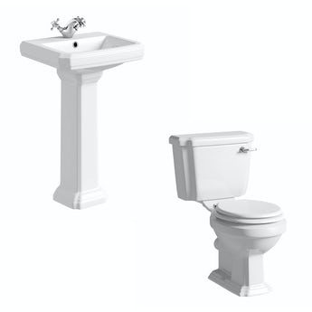 Cavendish toilet suite with white seat and full pedestal basin 500mm