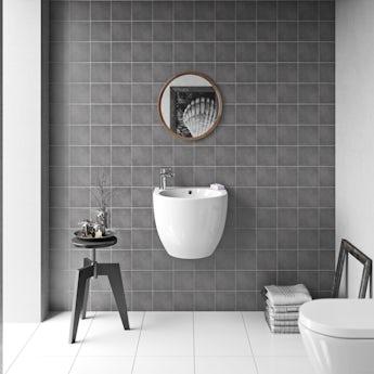 Patchwork plain mid grey matt tile 142mm x 142mm