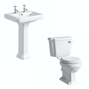 Cavendish toilet suite with white seat and full pedestal basin 600mm