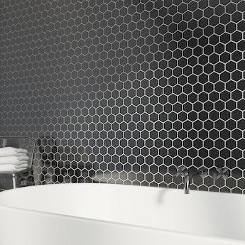 Mosaic hex black tile 300mm x 300mm - 1 sheet